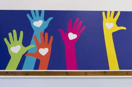 Northumberland Heath Primary bespoke design school hall wall art