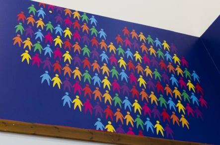 Primary School Hall bespoke wall art installation