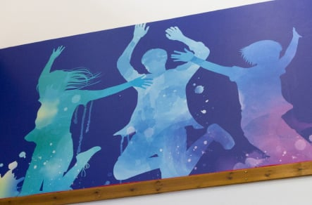 Northumberland School hall values feature bespoke wall art design