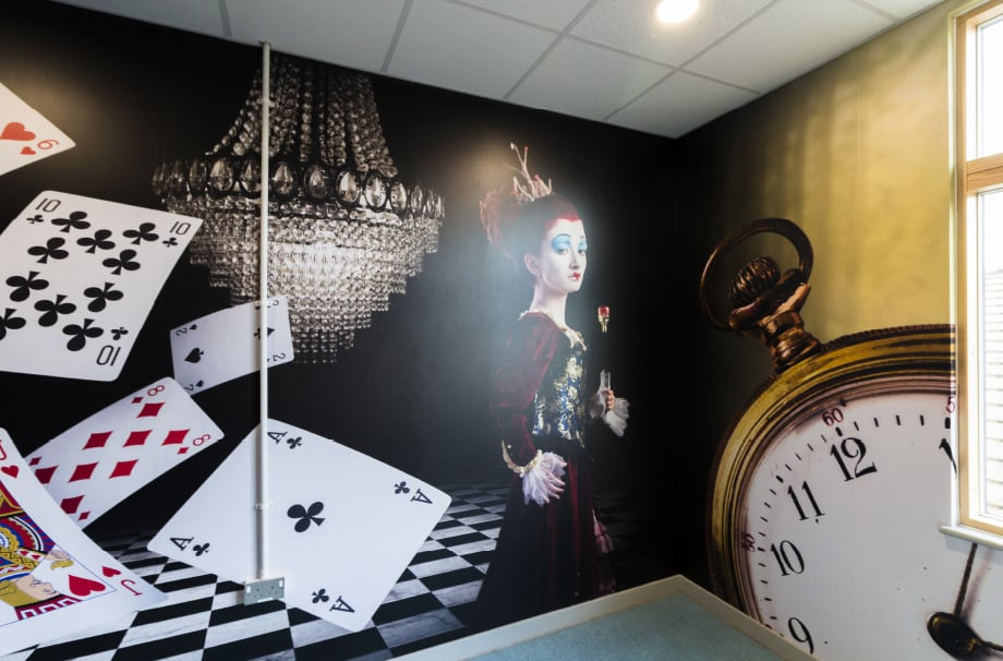 Bespoke immersive Alice in Wonderland themed wall art