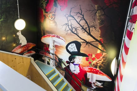Northumberland Heath Primary School Alice in Wonderland staircase wall art