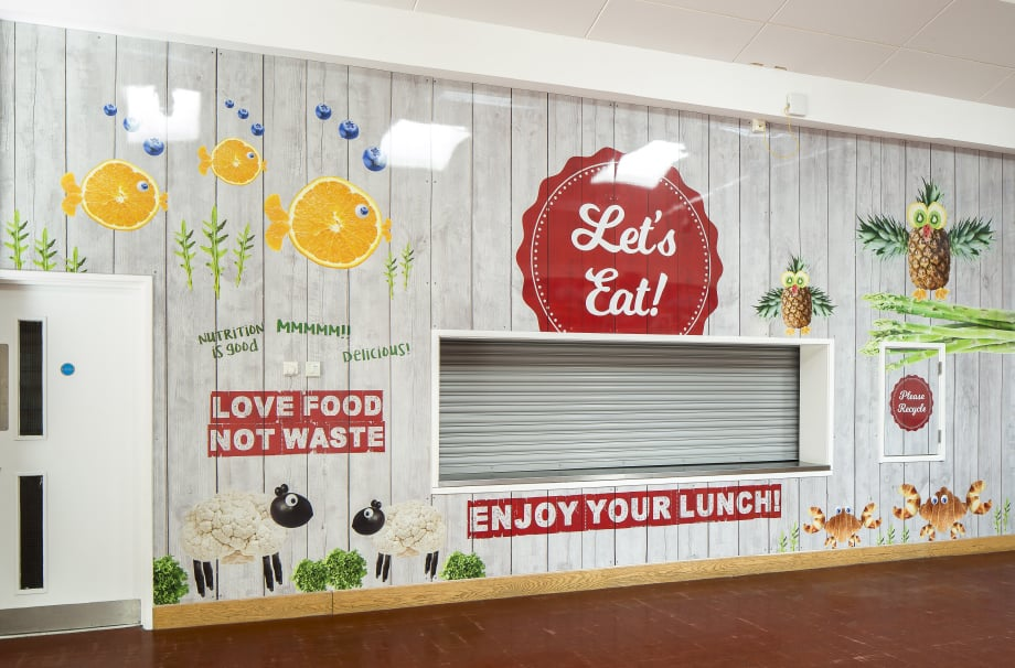 West Acton School Healthy eating canteen wall art