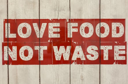 Love food not waste healthy eating school canteen wall art