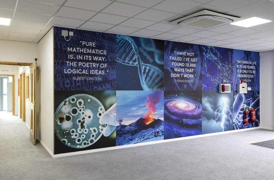 Brampton Sixth form Science walls corridor wall art