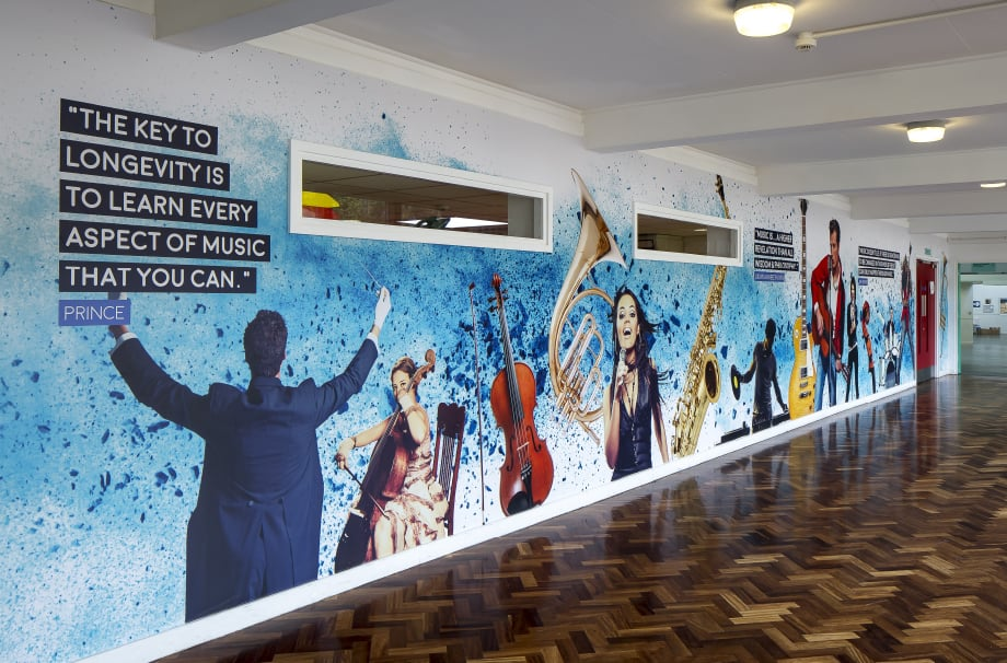 Brampton Manor vibrant music themed corridor wall art