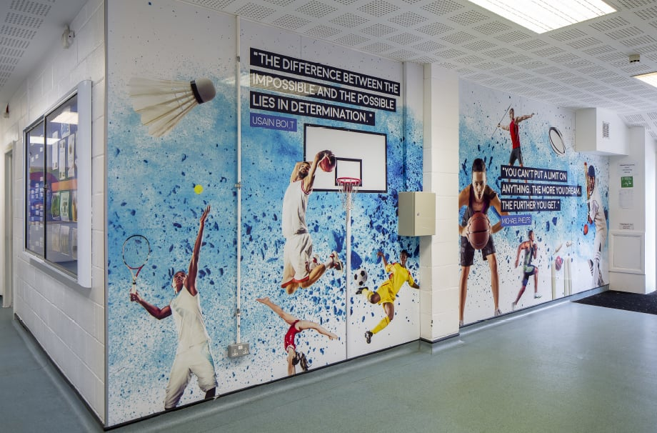 Brampton Manor Academy School inspirational sports themed throughway wall art