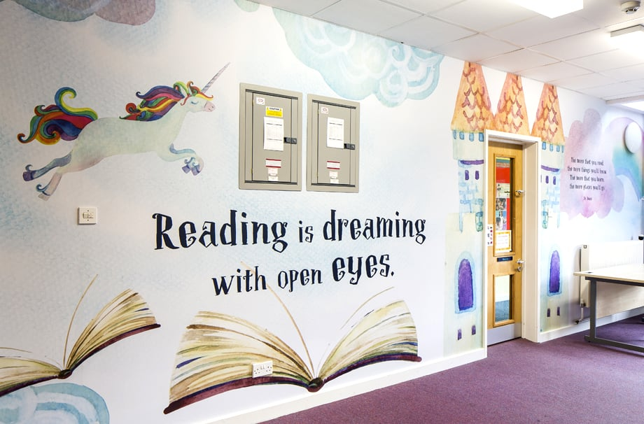 Ravenswood School literature themed reading zone wall art