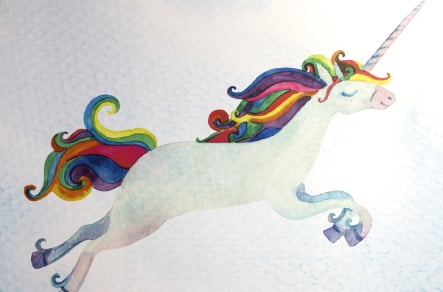 Ravenswood School unicorn graphic for reading zone wall art