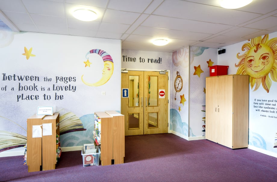 Ravenswood inspiring reading with bespoke library wall art