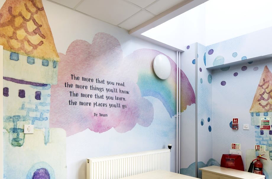 School uses bespoke wall art designs for library zone