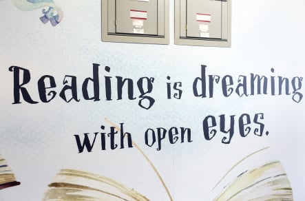 Ravenswood inspiring reading with library zone wall art