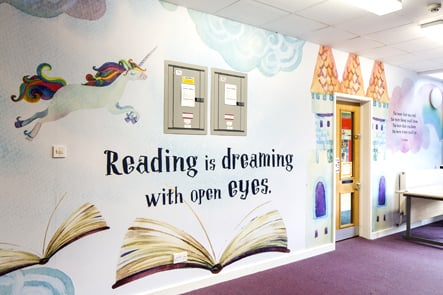 Ravenswood School Literacy library zone wall art