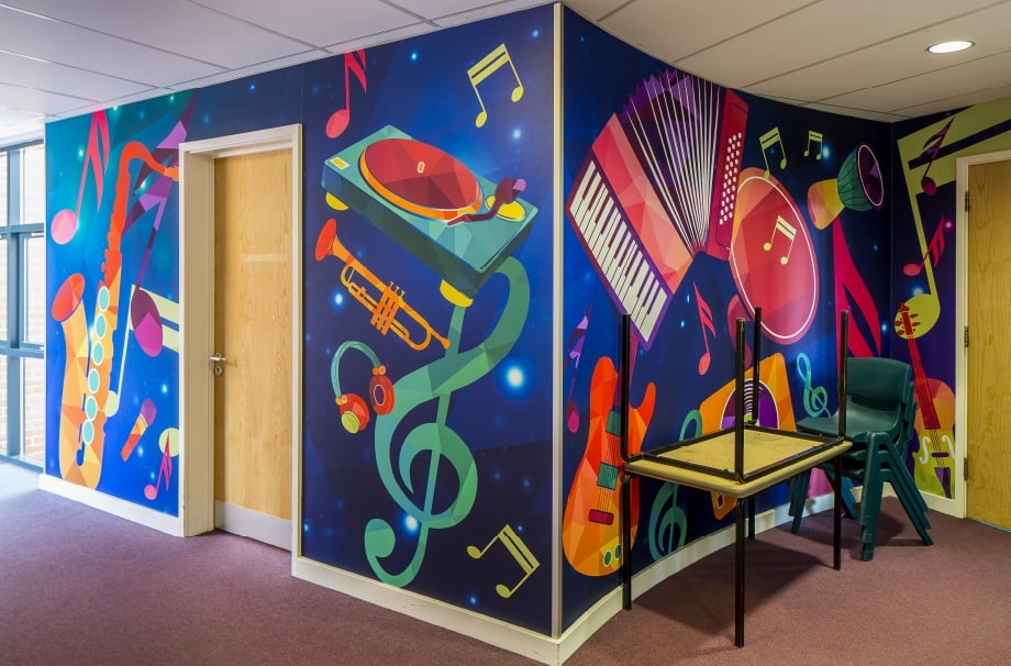 Ravenswood School Music zoned bespoke corridor wall art