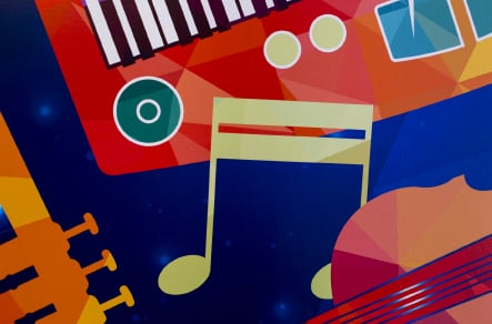 Close up of school music zone graphics for wall art