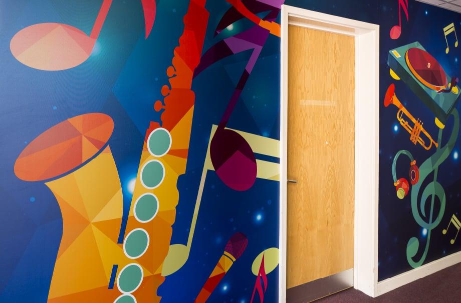 Ravenswood Schools bespoke music subject zoned corridor wall art