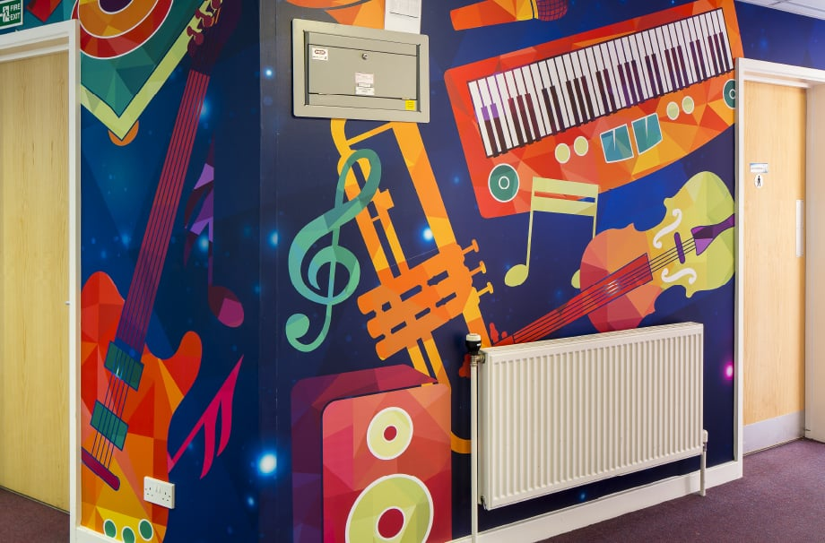 Music subject inspired bespoke large format corridor wall art