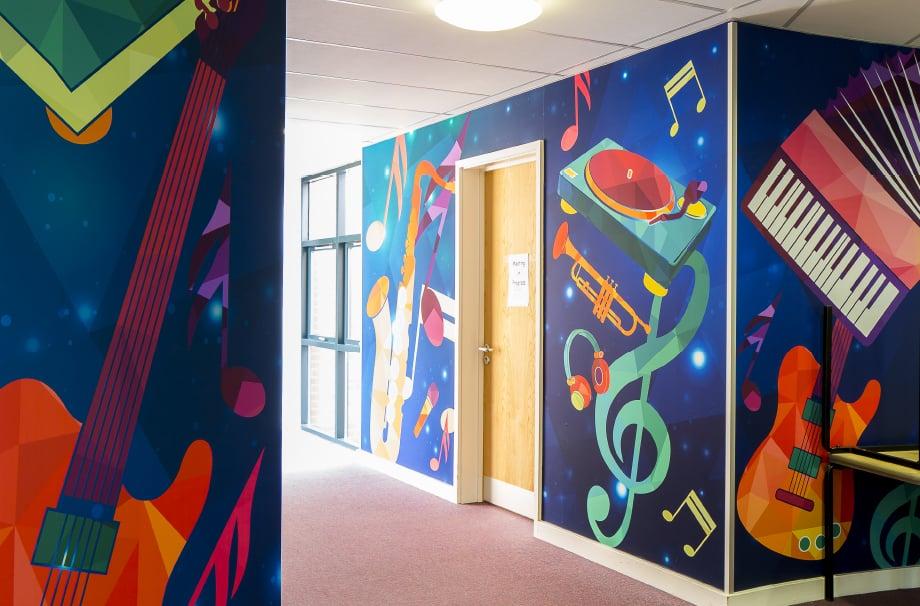 Ravenswood Schools bespoke music themed classroom corridor wall art