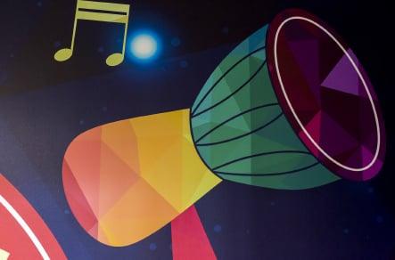 Ravenswood School bespoke music themed graphic wall art