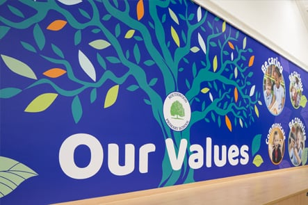 Southwood Primary School value boards corridor wall art