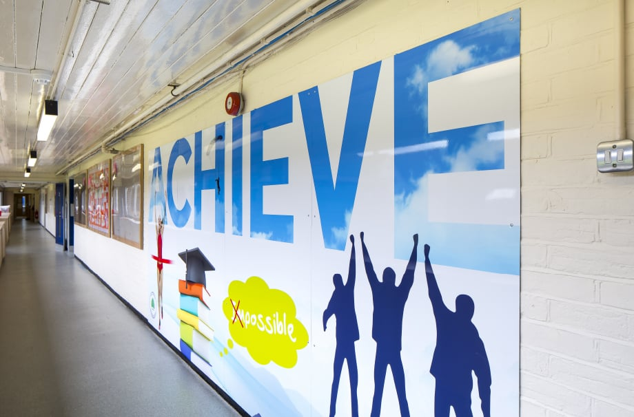 Southwood Primary motivating school key values corridor wall art