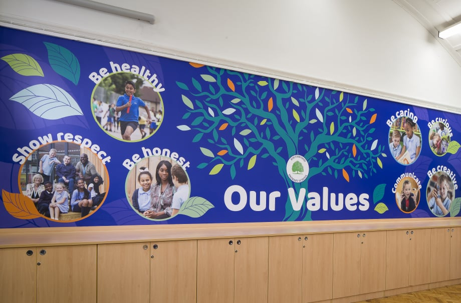 Southwood Primary School key values storyboards wall art