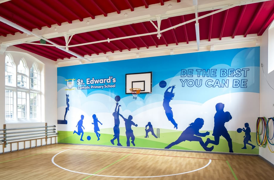 St Edwards sports hall bespoke themed school hall wall art