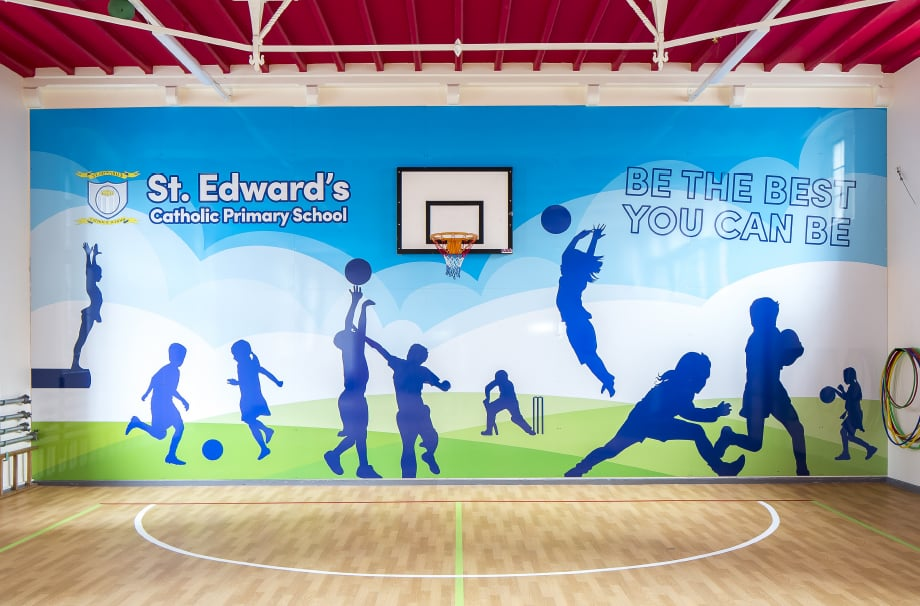 St Edwards large format sports themed school wall art