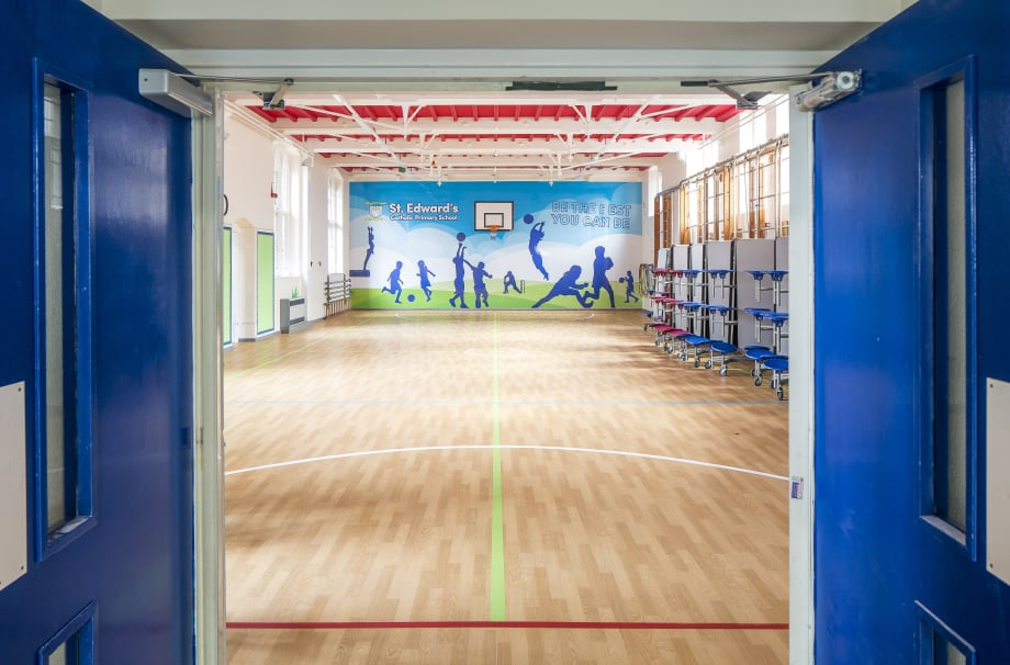 St Edwards School large format sports hall wall art