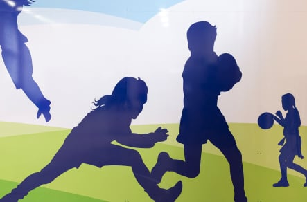 St Edwards bespoke graphic from sports themed school hall wall art