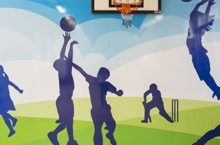 St Edwards sports hall bespoke themed school wall art