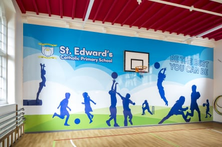 St Edward's Primary School motivational themed sports hall wall art