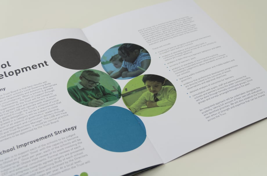 Bespoke contemporary school branding folders and prospectuses design