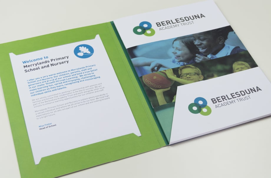 Custom design for schools with bespoke Branding Folders prospectuses