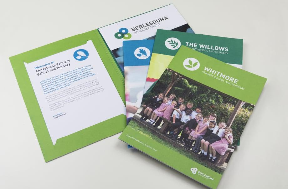 Berlesduna Academy Trust School branding folders and prospectuses