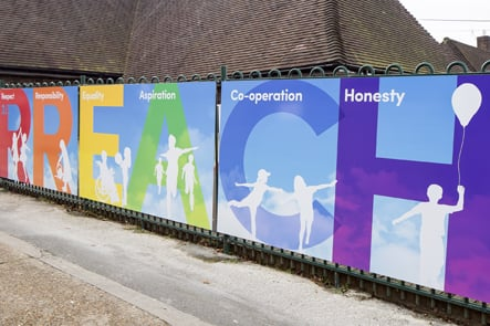Braintcroft Primary School values boards external wall art