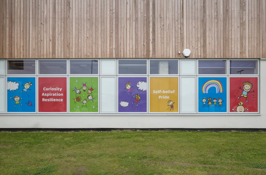 Halfway Houses Primary School bespoke external window wall art