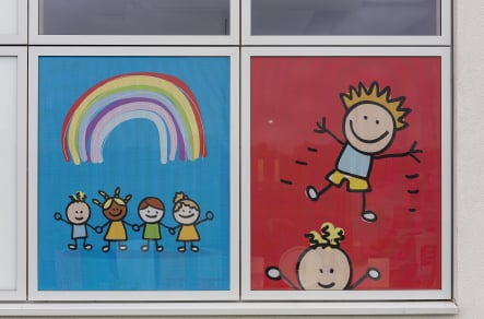 Halfway Houses Primary School bespoke window wall art