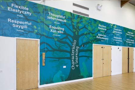 Ravenswood School values tree feature hall wall art