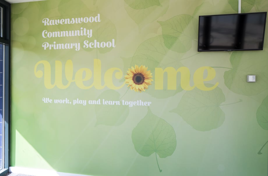 Ravenswood Community Primary School entrance welcome wall art