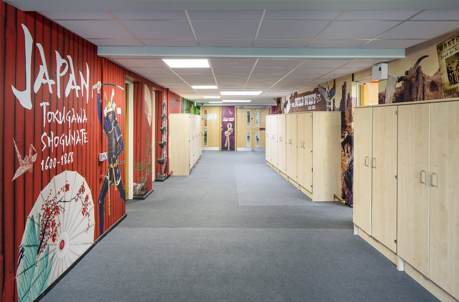 Greensted Junior School history themed large format wall art