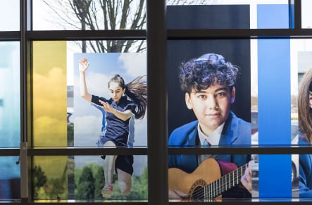 JFS School student photography for welcome window wall art