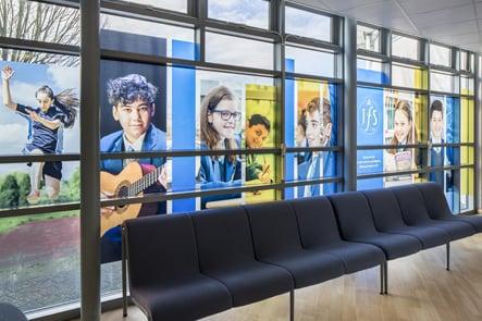JFS School welcome windows feature wall art