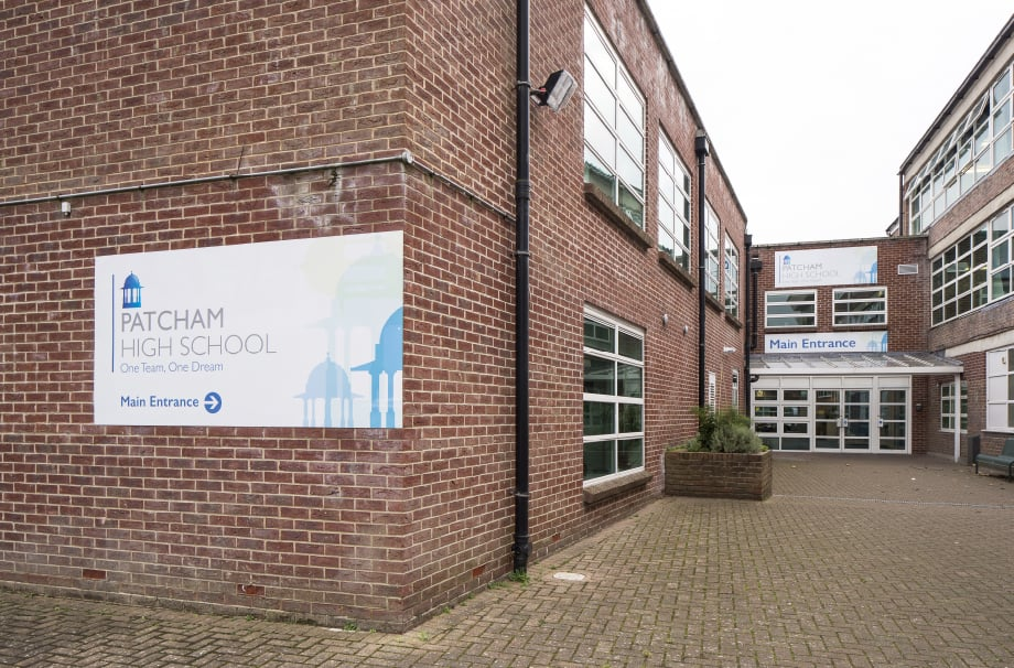 Patcham High School bespoke external signage wall art