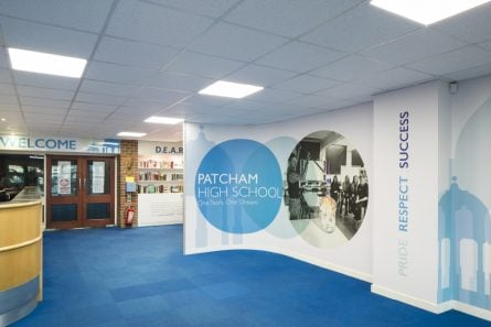 Patcham School value themed welcome wall, wall art