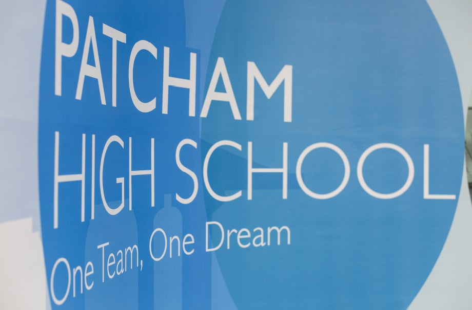 Patcham High school welcome signage wall art