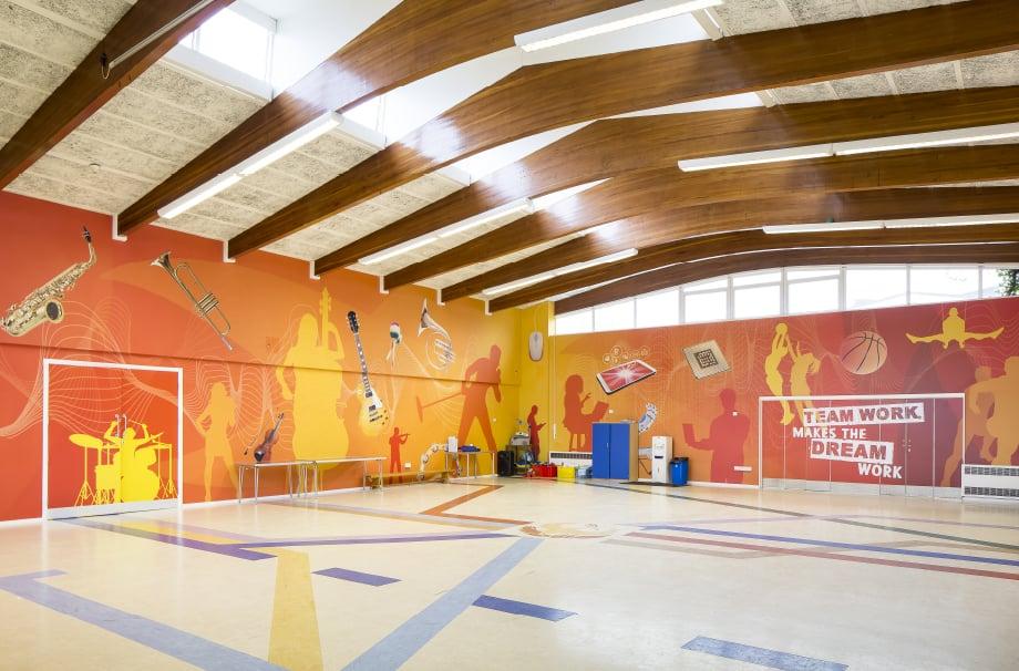 Phoenix Primary School musical themed bespoke hall wrap wall art