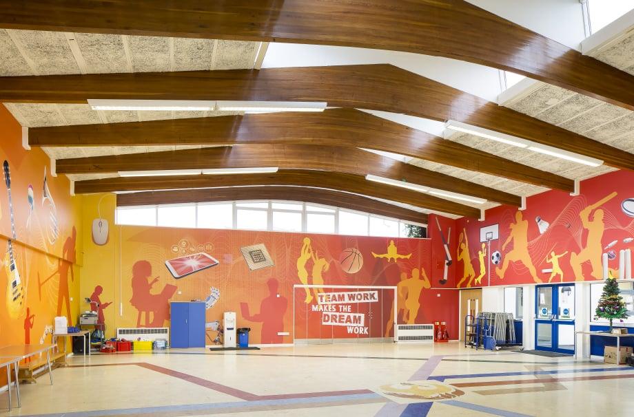 Phoenix Primary motivating sports themed bespoke hall wrap wall art
