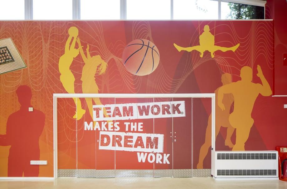 Phoenix Primary School motivational sports hall bespoke wall art