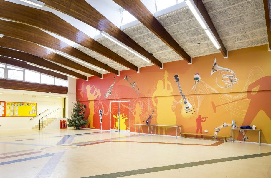 Phoenix School sports bespoke hall wrap wall art