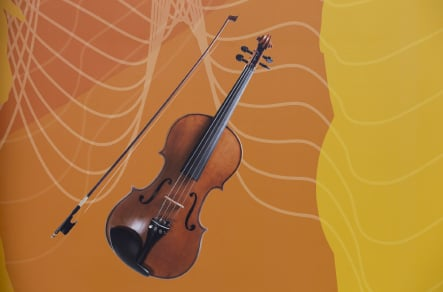 Musical instruments bespoke school hall wrap wall art